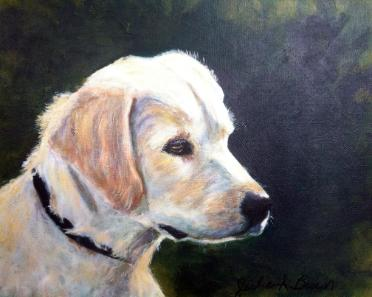 Acrylic Dog Portrait painting of a Golden Retriever