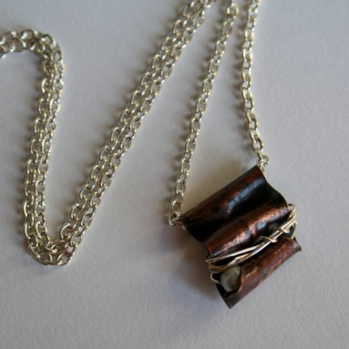 Safe, a recycled copper, fine silver and pearl necklace
