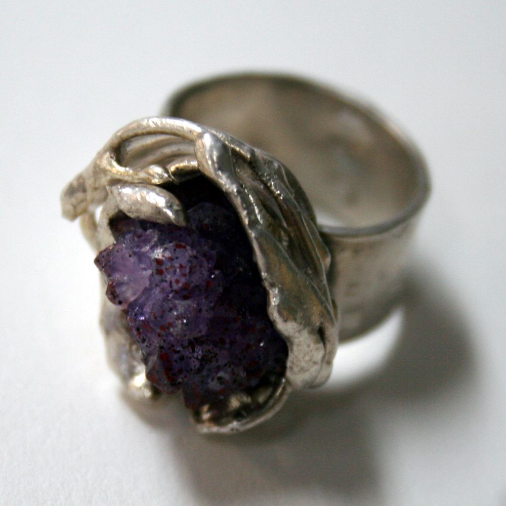 Nested- One of a Kind Adjustable Sterling Silver and Amethyst Band Ring by Julie A. Brown