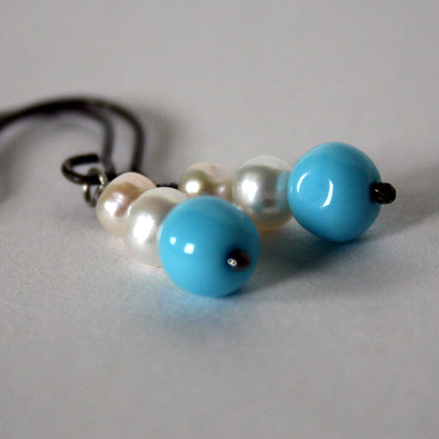 Clouds in the Sky - hand crafted freshwater pearl and vintage glass bead earrings