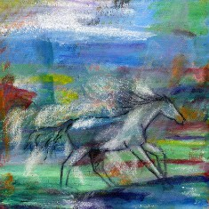 Moonlight Run - acrylic and oil stick horse painting on gallery wrapped canvas by Julie A. Brown