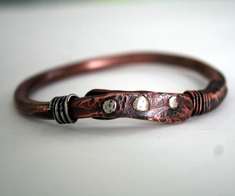 Riveted up-cycled copper bangle by Julie A. Brown