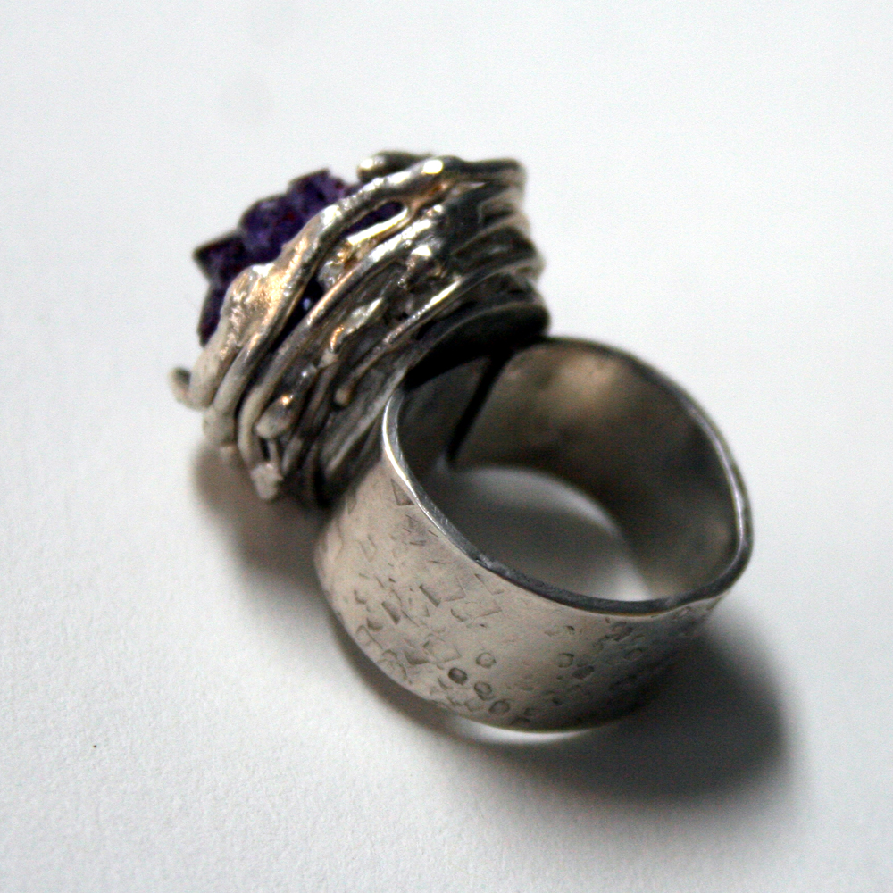 Nested - side view of Sterling silver and amethyst ring handcrafted by Julie A. Brown