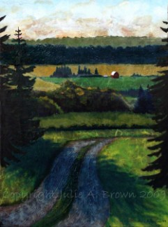 At the Bend in the Road, mixed media landscape painting by Julie A. Brown