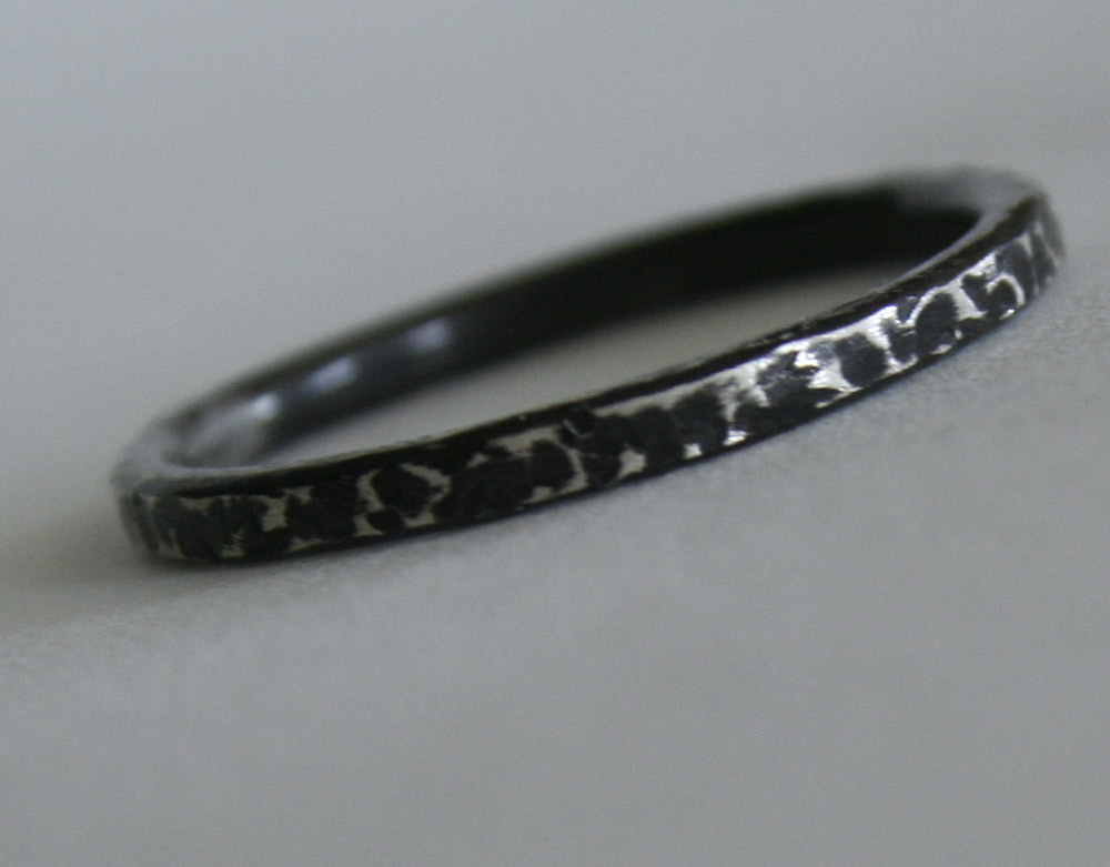 Bark- Sterling silver stacking ring handcrafted by Julie A. Brown