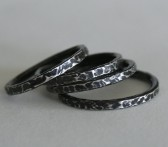 Stack of Bark Rings - Sterling Silver Stacking Ring