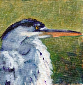 Heron 4:  The Watcher, original acrylic painting by Julie A. Brown