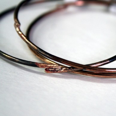 Set of 3 Simple Rustic Bronze Bangles by Julie A. Brown