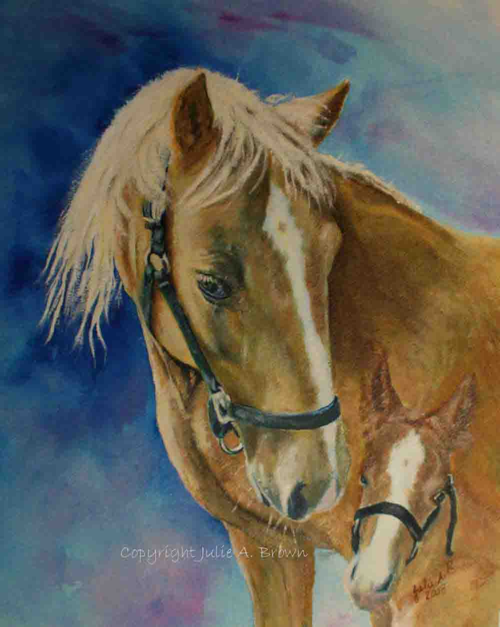 Mare and Foal Acrylic horse portrait by Julie A. Brown