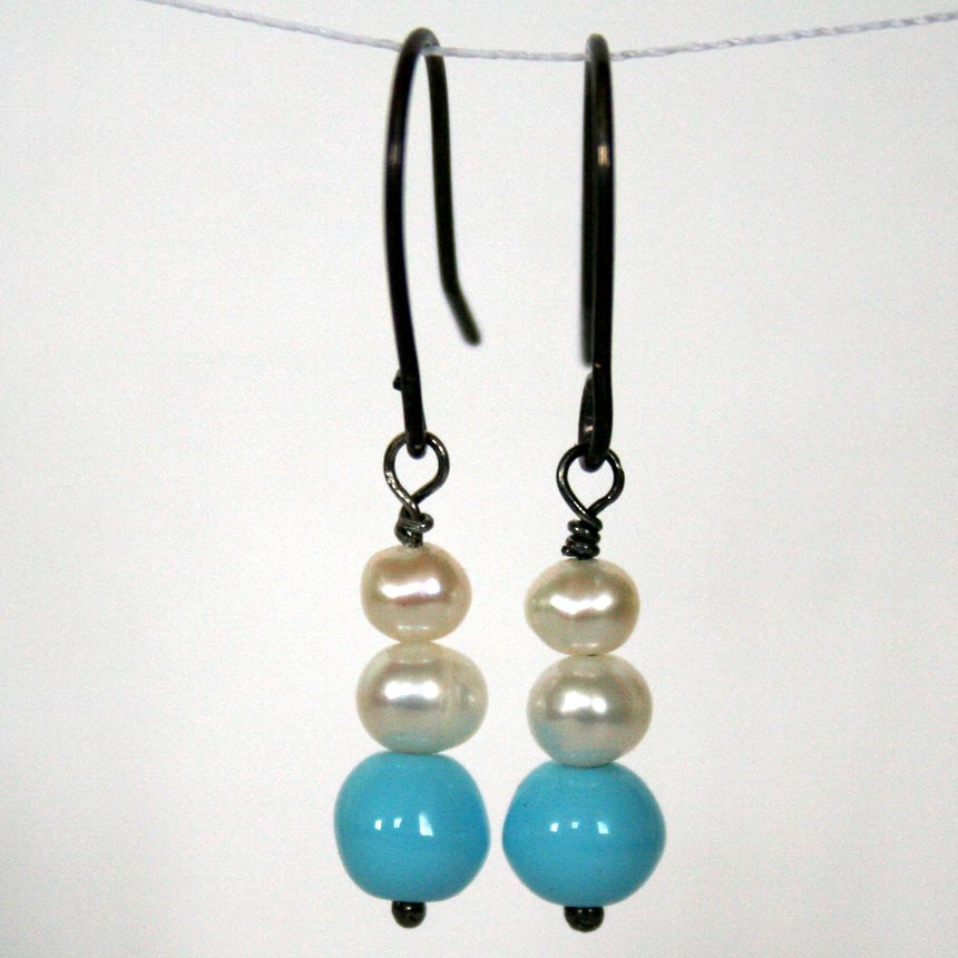 Clouds in the Sky handcrafted earrings by Julie A. Brown