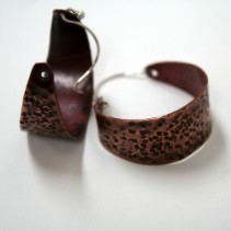 Ethnic Textured Wide Copper Hoop Earrings Handcrafted by Julie A. Brown