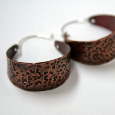 Tribal - handcrafted wide textured open hoops with sterling silver ear wires