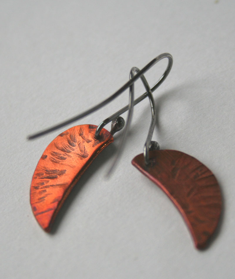 Little Copper Leaves - handcrafted copper and sterling earrings by Julie A. Brown