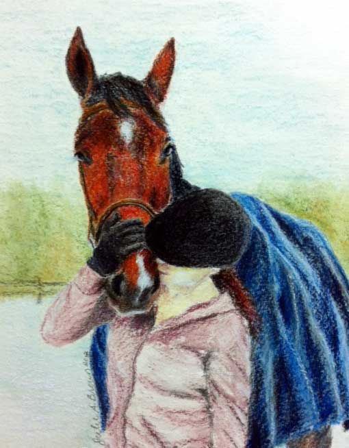Bay Horse and Girl Portrait: Pastel on Watercolour Paper