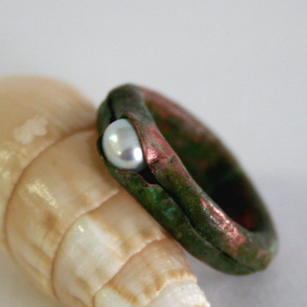 Hidden Treasure Ring - handcrafted from copper and a freshwater pearl