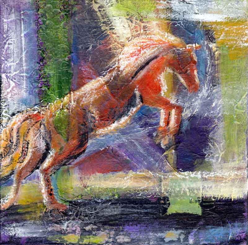 Leap - Mixed Media abstract horse painting by artist Julie A. Brown
