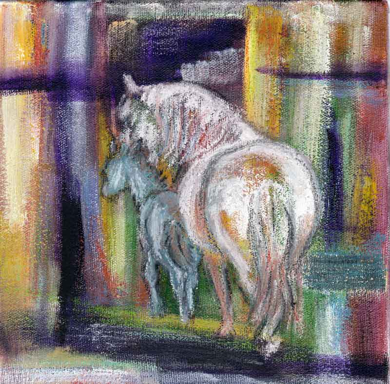 Maternal - Acrylic and oil stick Mare and Foal painting on gallery wrapped canvas