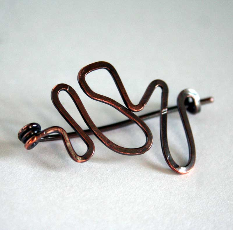 Meandering - Handcrafted copper pin by Julie A. Brown