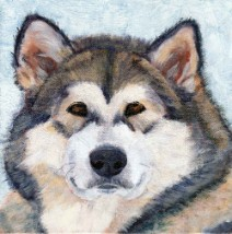 Acrylic Husky Dog Portrait by Julie A. Brown - Mikenlie A. Brown