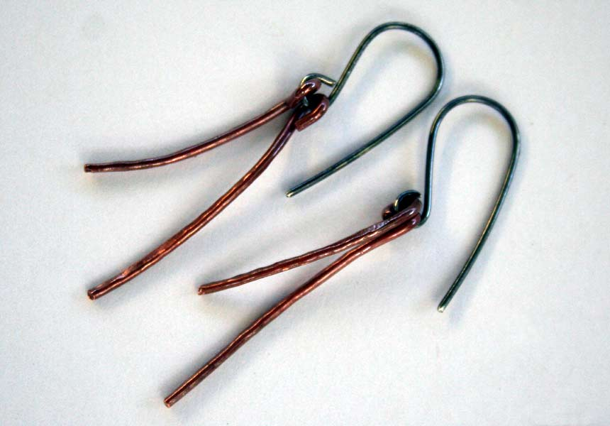 Twigs - Copper and Sterling Silver earrings handcrafted by Julie A. Brown