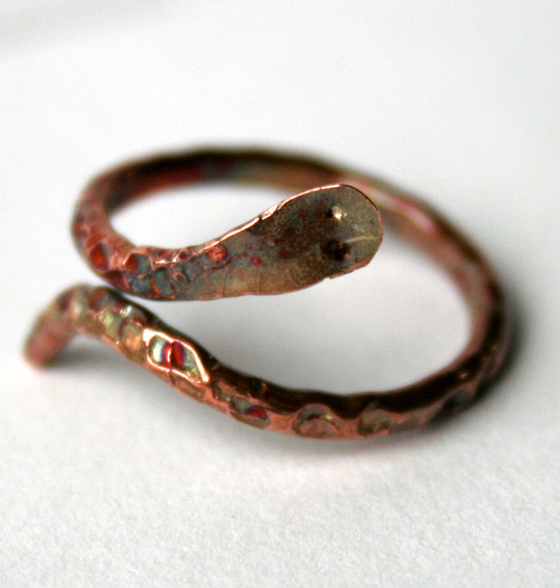 Transformation- Adjustable Copper Snake Ring by Julie A. Brown