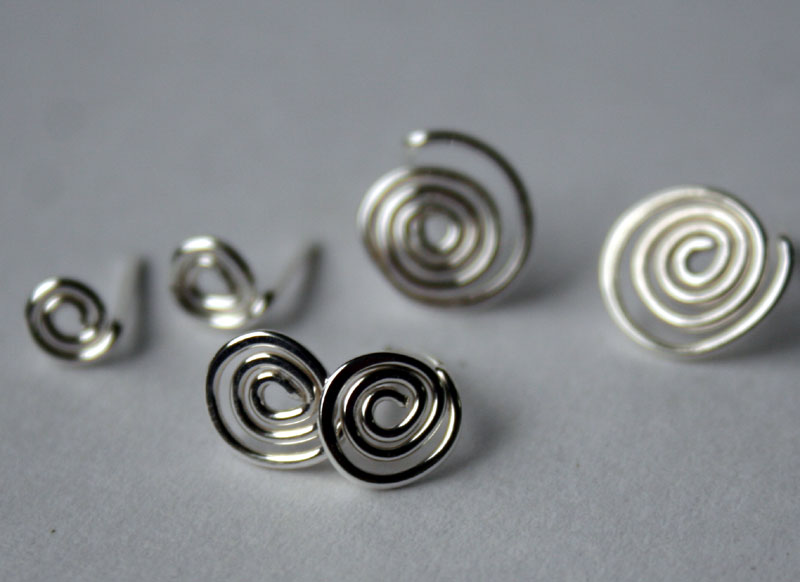 Handcrafted Sterling Spiral Post Earrings