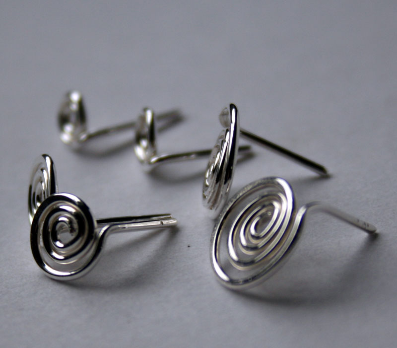 Spiral Post Earrings handcrafted in Sterling Silver by Julie A. Brown