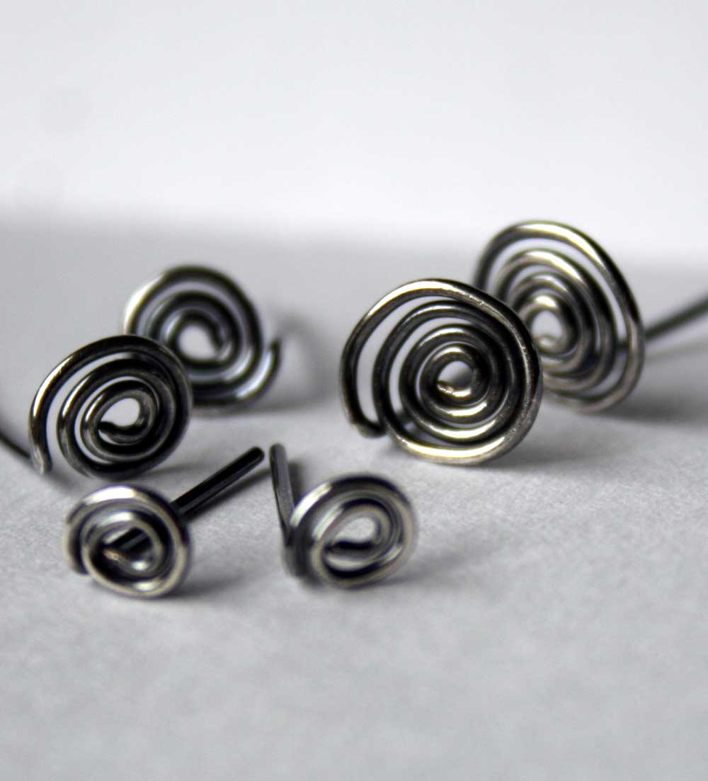 Antiqued Sterling Silver Spiral Post Earrings by Julie A. Brown