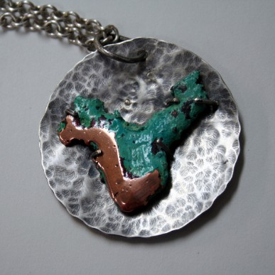 Lost Continent - splash copper and sterling silver handcrafted necklace