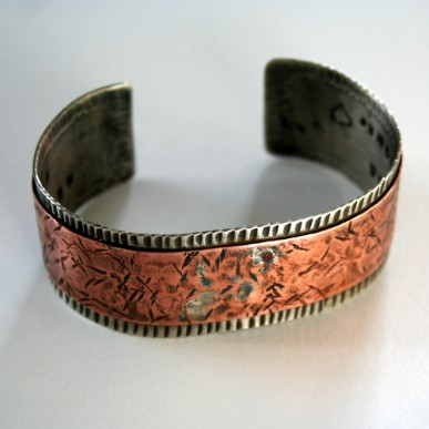 Unisex Recycled Copper and Sterling Eco-friendly Cuff