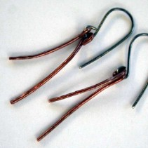 Twigs - handcrafted copper and sterling silver earrings by Julie A. Brown