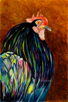 Who You Callin' Chicken? 2, mixed water media painting by Julie A. Brown