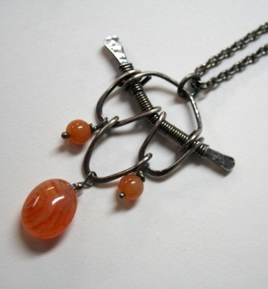 Zen - handcrafted sterling silver and carnelian pendant from Wabi Brook Studio